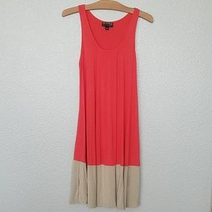 Coral Color Block Dress